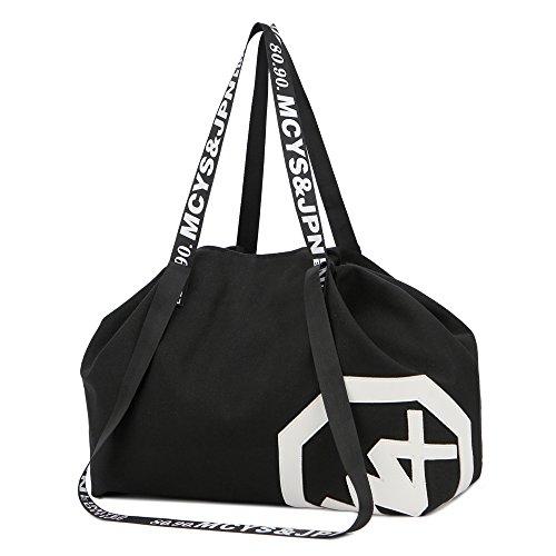 Drawstring Shoulder Bag Womens Girls Gym Bags High Capacity Canvas Handbag for Hiking Swimming Yoga Gym (black)
