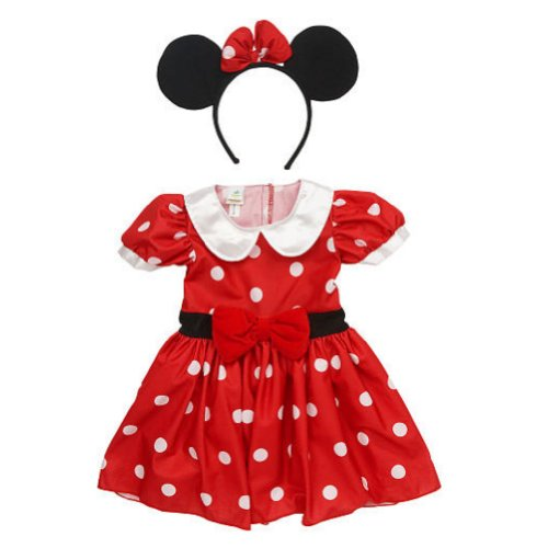 Disney Infant Girls Minnie Mouse Costume Red Polka Dot Baby Dress & Headband 3m