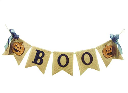 Seasons Treasure 6ft Handmade Halloween Decoration Burlap Banner Garland with Boo & 2 pcs Pumpkin Face Banner for Halloween Decor (Boo) for $<!--$10.69-->