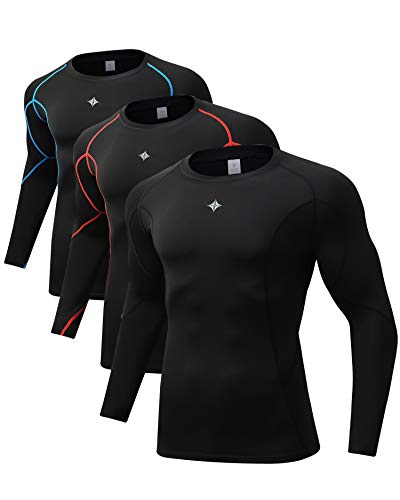 Milin Naco 3 Pack Men's Cool Dry Baselayer Tops