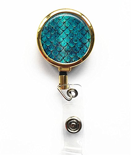 RhyNSky Sea Mermaid Mermaids Gold Retractable Business Card ID Name Badge Holder Reel -299 Badge Reel No Sticker