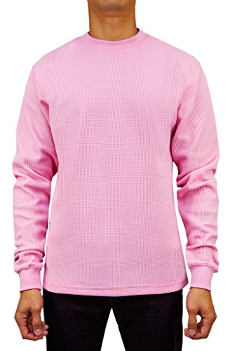 (Access Men's Heavyweight Long Sleeve Thermal Crew Neck Top Ltpink Large)