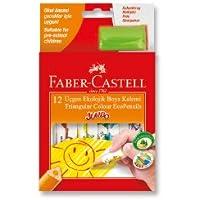 Faber-Castell 5171123013 Jumbo Üçgen Beyaz Gövde Boya Kalemi, 12 Renk