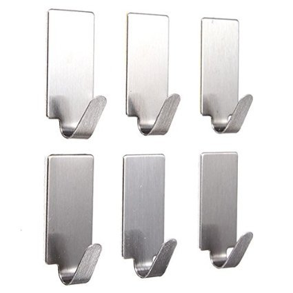 Celebration Set of 6 Adhesive Steel Hooks for Room, Wall hanging, Kitchen, Bathroom, Clothes etc.(Load Of 1kg color : Ash)