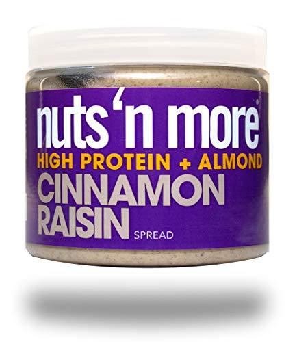 Nuts 'N More Cinnamon Raisin Almond Butter Spread, Keto, High Protein Nut Butter Snack, Low Carb, Low Sugar, Gluten-Free, All Natural, 16 oz Jar