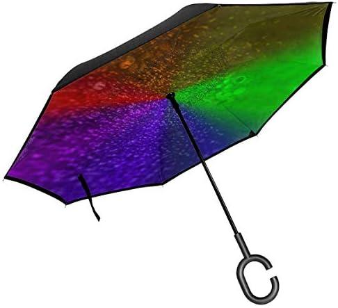 Rainbow ユニセックス二重層防水ストレート傘車逆折りたたみ傘C形ハンドル付き