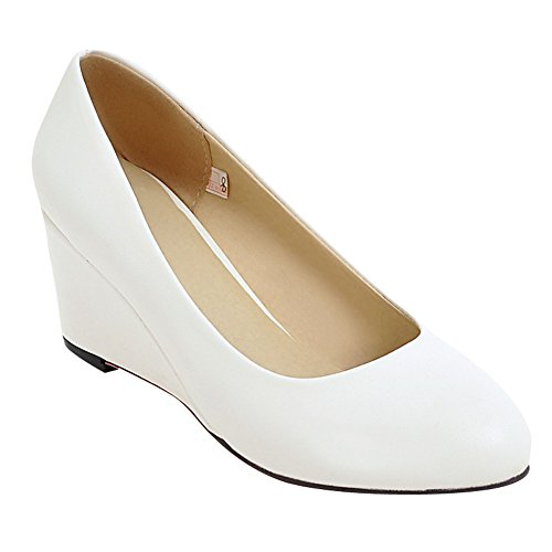 Slip Women's White Wedge On Show Shoes Heel Shine Pumps Dress qw77R