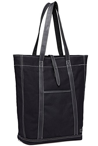 Leather Canvas Tote,Vaschy Vintage Large Shopper Laptop Bag for Women w Padded 15.6in Laptop Sleeve Black