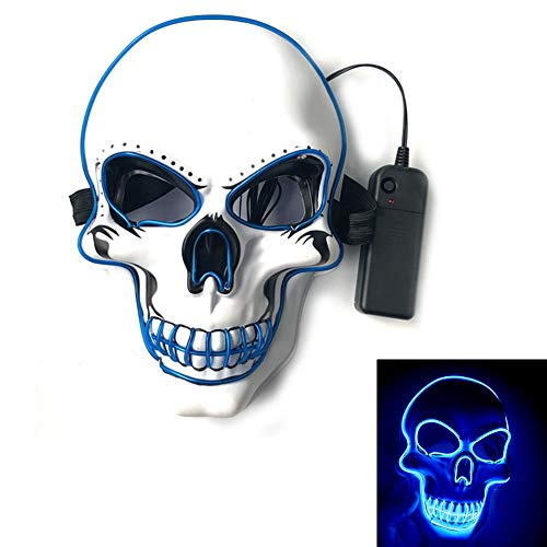 Coolest Halloween Masks (LED Light Up Mask,Halloween Cosplay Scary Death Skull Mask for Festival Parties)