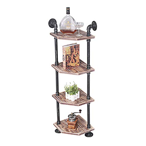MBQQ Industrial Pipe Shelves Modern Rustic Corner Book Shelve