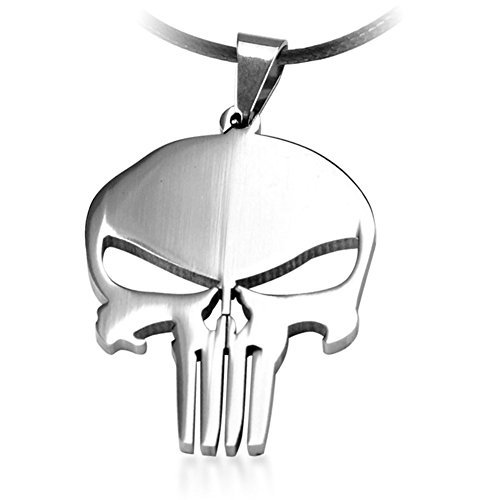 (LUCKYFAN The Punisher Titanium Stainless Steel Womens Mens Skull Charm Pendant Necklace 21.6'')