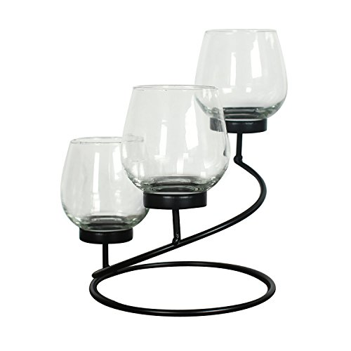 ELEGAN Metal Candle Holder With Clear Glass, Holds 3 Pillar Candles