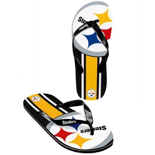 Pittsburgh Steelers official NFL Unisex Flip Flop Beach Shoes Sandals slippers size XL by forever