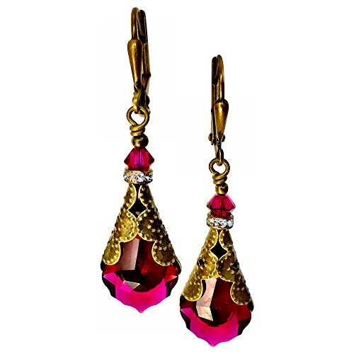 HisJewelsCreations Crystal Vintage Inspired Leverback Dangle Drop Earrings