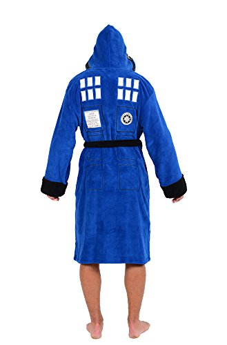 Doctor Who Tardis Police Box Back and in-Hood Design Officially Licensed Adult Bathrobe