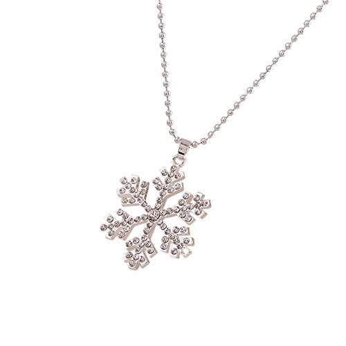 White Frozen Snowflake Christmas Pendant Necklace, Long chain (Snowflake Necklace)