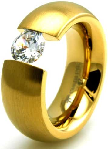 TIONEER® Stainless Steel Gold Colored Plated Domed Ring with Large Suspended CZ