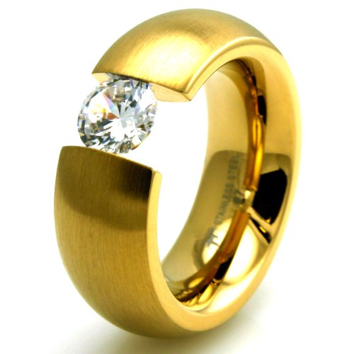 TIONEER Stainless Steel Gold Colored Plated Domed Ring with Large Suspended CZ, Size 8 -