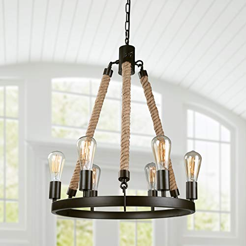 LNC Farmhouse Chandeliers for Dining Rooms Rustic Foyer Light Fixture, A02993 (Nautical Style Kitchen)