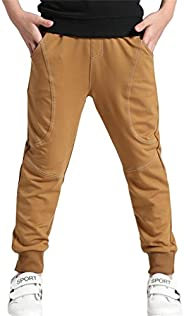 Rysly Boys Cotton Sweatpants Kids Casual Jogger Pants Tapered Ankle Pants Age 4-12 Years