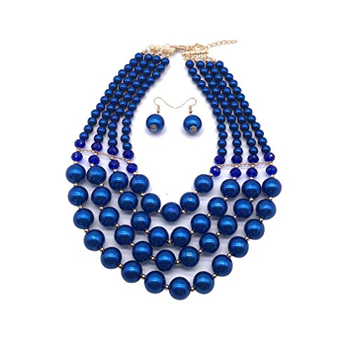 Halawly 5 Colors Statement Beaded Layered Strands Resin Big Simulated Pearls Multi Strand 4 Layer Collar Evening Necklace (Blue)