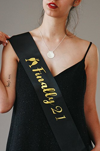 Detail Sash - 21st Birthday Sash for Women | Black Satin Sash with Gold | Finally 21 Sash | 21 Year Old Girl | 21st Birthday Gifts for Her | 21 Birthday Sash for Women | 21st Birthday Gifts for Women
