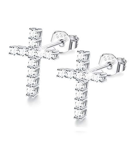 Sllaiss Sets with Swarovski Zirconia Cross Stud Earrings 925 Sterling Silver CZ Stud Earrings for Women Girls Hypoallergenic Cross 925 Sterling Silver Stud