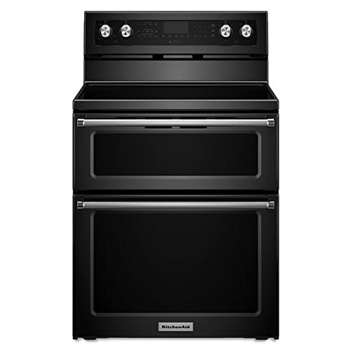 (KITCHENAID KFED500EBL Double Oven Electric Freestanding Range, 6.7 cu. ft. Pyro Self-Clean, 1- 6/9/12