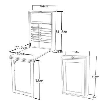 Wandklapptisch regal  Wandklapptisch mit integriertem Regal, Memoboard und einer Tafel ...