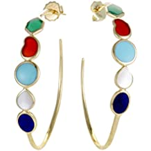 Ippolita Polished Rock Candy 18K Yellow Gold Multi-Colored Stone Large Hoop Earrings