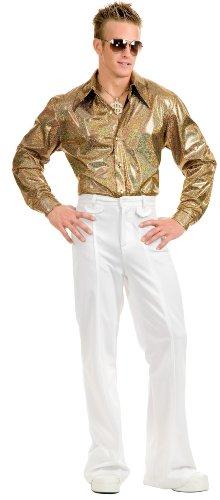 Mens Medium 40-42 Metallic Gold Disco Costume Shirt (70s Disco Gold Adult Costume)
