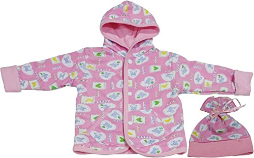 TenTeeTo Baby Girls Clothes Set for Newborn or Infant with Hoodie and Hat Pink (3-6 Months, Pink/Bear/Bunny) - Add On Items Ropa