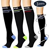 Laite Hebe Compression Socks,(3 Pairs) Compression Sock Women & Men - Best Running, Athletic Sports, Crossfit, Flight Travel(Multti-colors16-S/M)