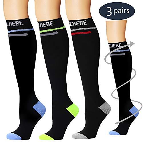 (Laite Hebe Compression Socks,(3 Pairs) Compression Sock Women & Men - Best Running, Athletic Sports, Crossfit, Flight Travel(Multti-colors16-L/XL))