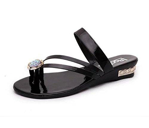 zapatos casuales de playa sandalias de tiras estudiantes con diamantes de imitación zapatos planos flip Black