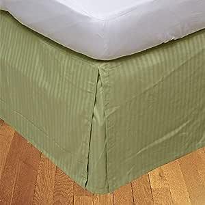Brightlinen Sage Single (90 X 190 Cm) Box Pleated Bedskirt Stripe (drop Length: 42 Cms) 1pcs