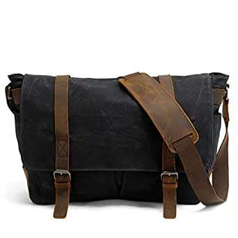 Mens Bag Color: Khaki Simple Retro Zipper Waterproof Canvas Briefcase Shoulder Bag Messenger Bag High capacity (Color : Black)