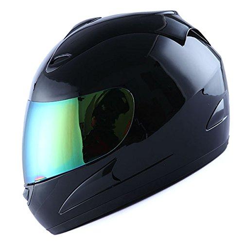 WOW Motorcycle Full Face Helmet Street Bike Glossy Black