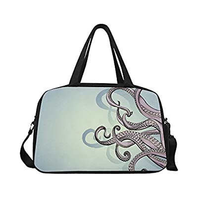 587a0ff211f5 InterestPrint Travel Duffel Tote Bag with Shoes Compartment for Women   Men  Tentacles durable service