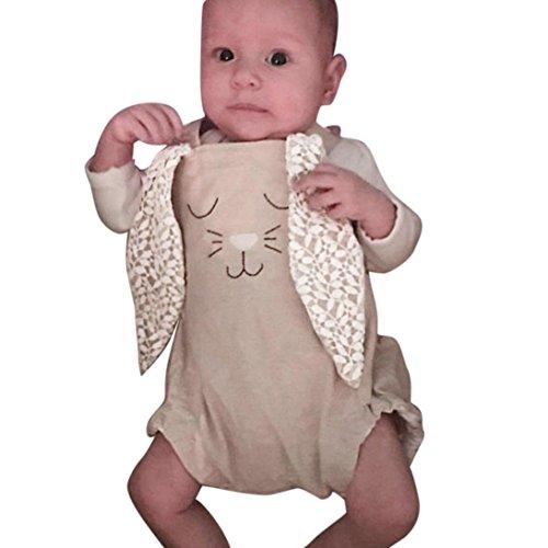 Ankola Jumpsuit ❤ Baby Girls Suspender Trousers One-pieces Cartoon Rabbit Lace Ear Romper Jumpsuit Sunsuit Outfit Clothes (Khaki, ()