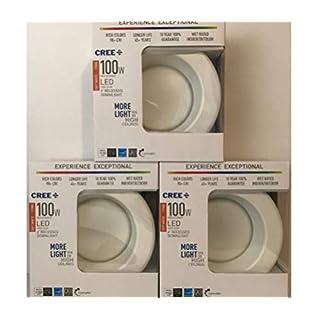 3 Pack: Cree TRDL6-1102700FH50-12DE26-1-11 6 inch retrofit Recessed Downlight 100W Equivalent< (14.5 watt Actual), LED Light Bulb, 2700K Soft White