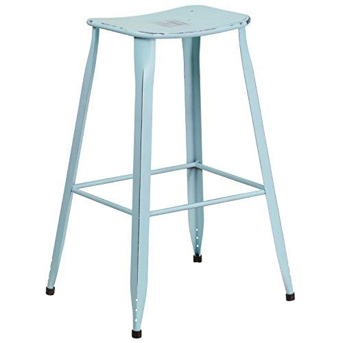 "Cheap Flash Furniture 29.75"" High Distressed Green-Blue Metal Indoor-Outdoor Saddle Comfort Barstool"