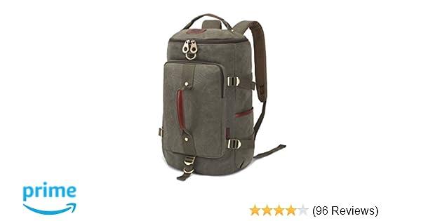 107966fa61e623 Amazon.com  KAUKKO Vintage Canvas Outdoor Sport Bakcpack 3 Ways of Carrying  Backpacks Packsack Treking Knapsack (Army Green)  Clothing