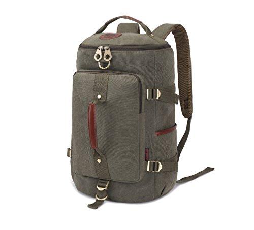 KAUKKO Vintage Canvas Outdoor Sport Bakcpack 3 Ways of Carrying Backpacks Packsack Treking Knapsack (Army Green)