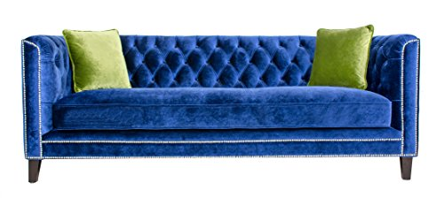 Pasargad Carpets SOFA-1012 Navy Victoria Collection Tufted Velvet Sofa, 33″ x 87″