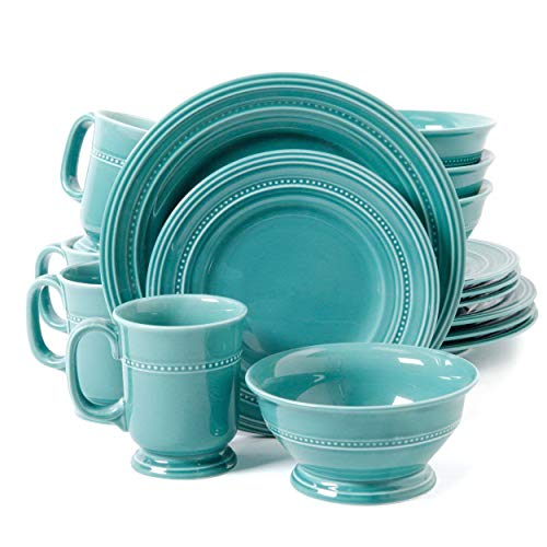 Dinnerware Set. 16 Piece. Round Dinner Dish Kit For 4. Blue Home Kitchen Everyday Dishware, Dining, Plates, Mugs. Porcelain Tableware. Dishwasher, Microwave Safe (Turquoise)