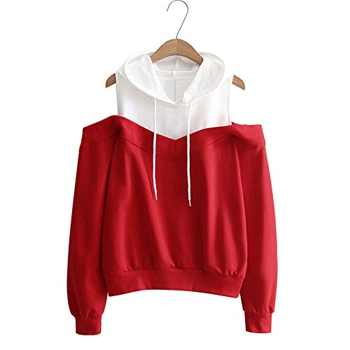 ragazza eleganti lunga lunghe Tops tumblr donna tumblr cappuccio camicetta donna donna Felpa maniche hoodie con Rosso manica sweatshirt grandi Felpe beautyjourney Donna xwqgSYg0