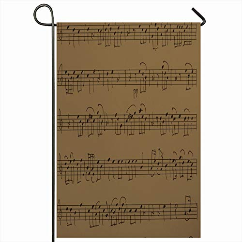 Ahawoso Seasonal Garden Flag 12x18 Inches Autograph Music Akbu Life Melody Note Still Design Home Decorative Outdoor Double Sided House Yard Sign