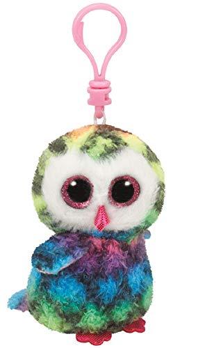 Ty Beanie Boos - OWEN the Owl (Glitter Eyes) (Plastic Key Clip)