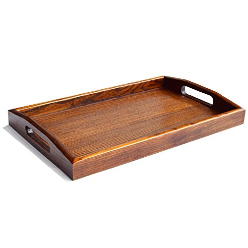Kidcia Wooden Tray With Handle Serving Tray/Decorative Trays/Wooden serving Platters For Easy Arrangement Wood Tray Thanks Giving or Christamas Gift Interior Decoration-Brown(14.2x9.1x1.6'') by Kidcia (Image #3)
